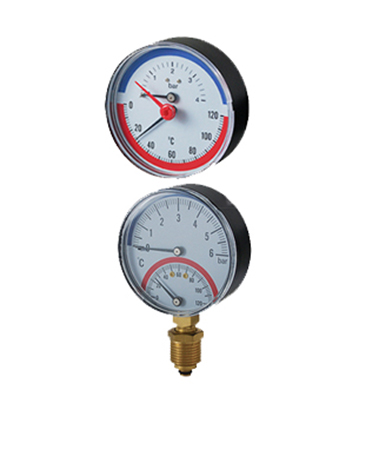 2710 Bimetal thermo-manometer,plastic case