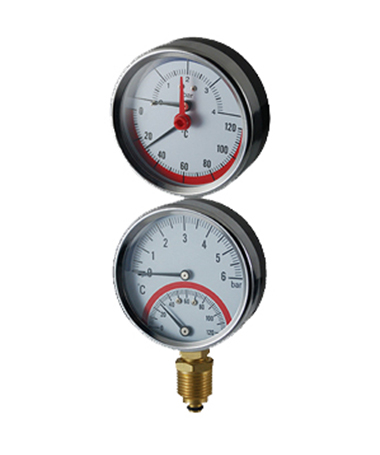 2720 Bimetal thermo-manometer,steel case